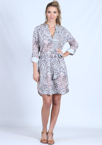 LV0156-20SS Leopard Johnny Collar Dress (Pack)