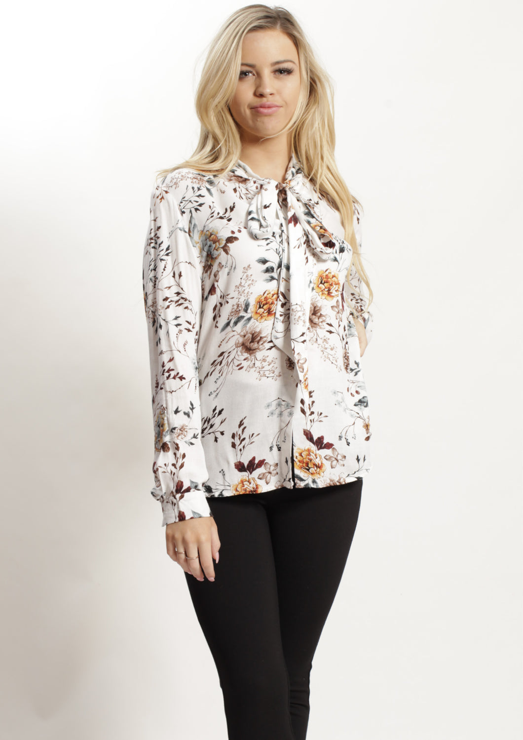 XW16314SS Floral Tie Neck Blouse (Pack) New Arrivals