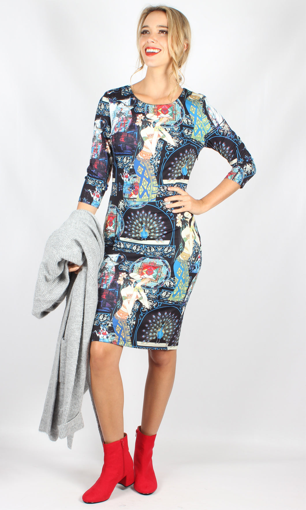 WW0147TB Oriental Printed Long Sleeve Mid Length Dress (Pack)