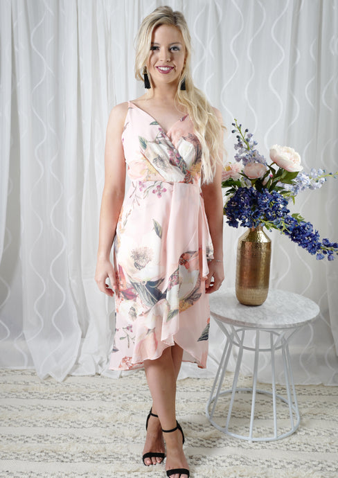 YW2308SS Floral Wrap Over Ruffle Dress (Pack) New Arrivals