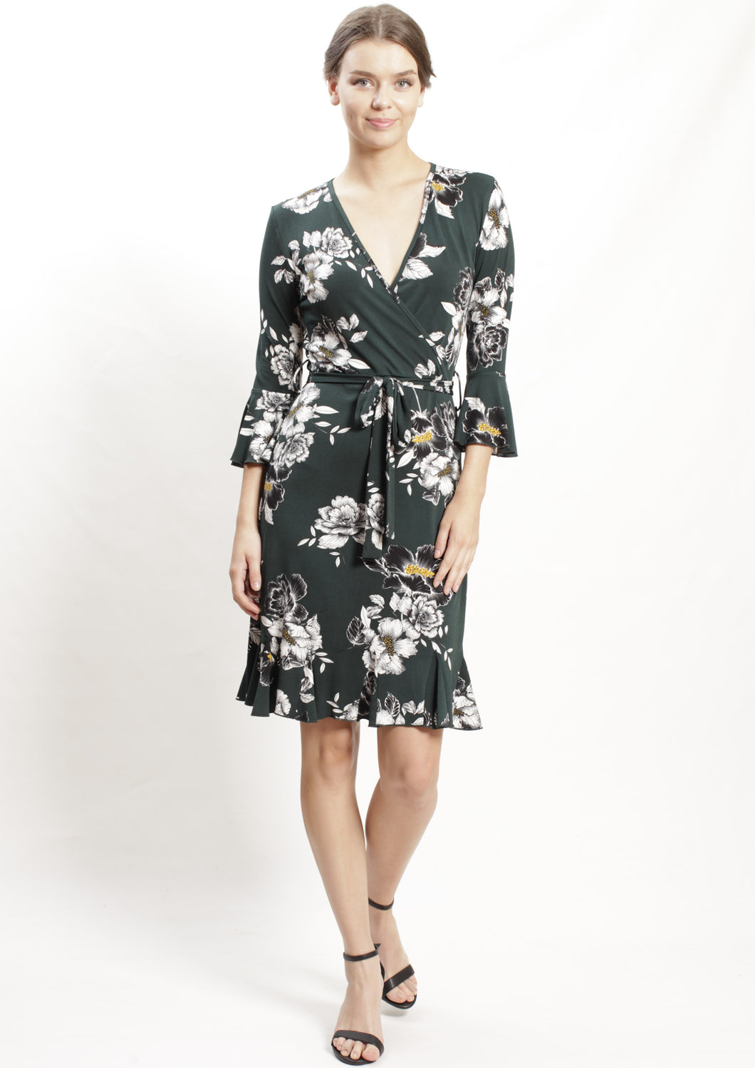 HS0253-17NC Ruffle Sleeve Floral Dress  (Pack)