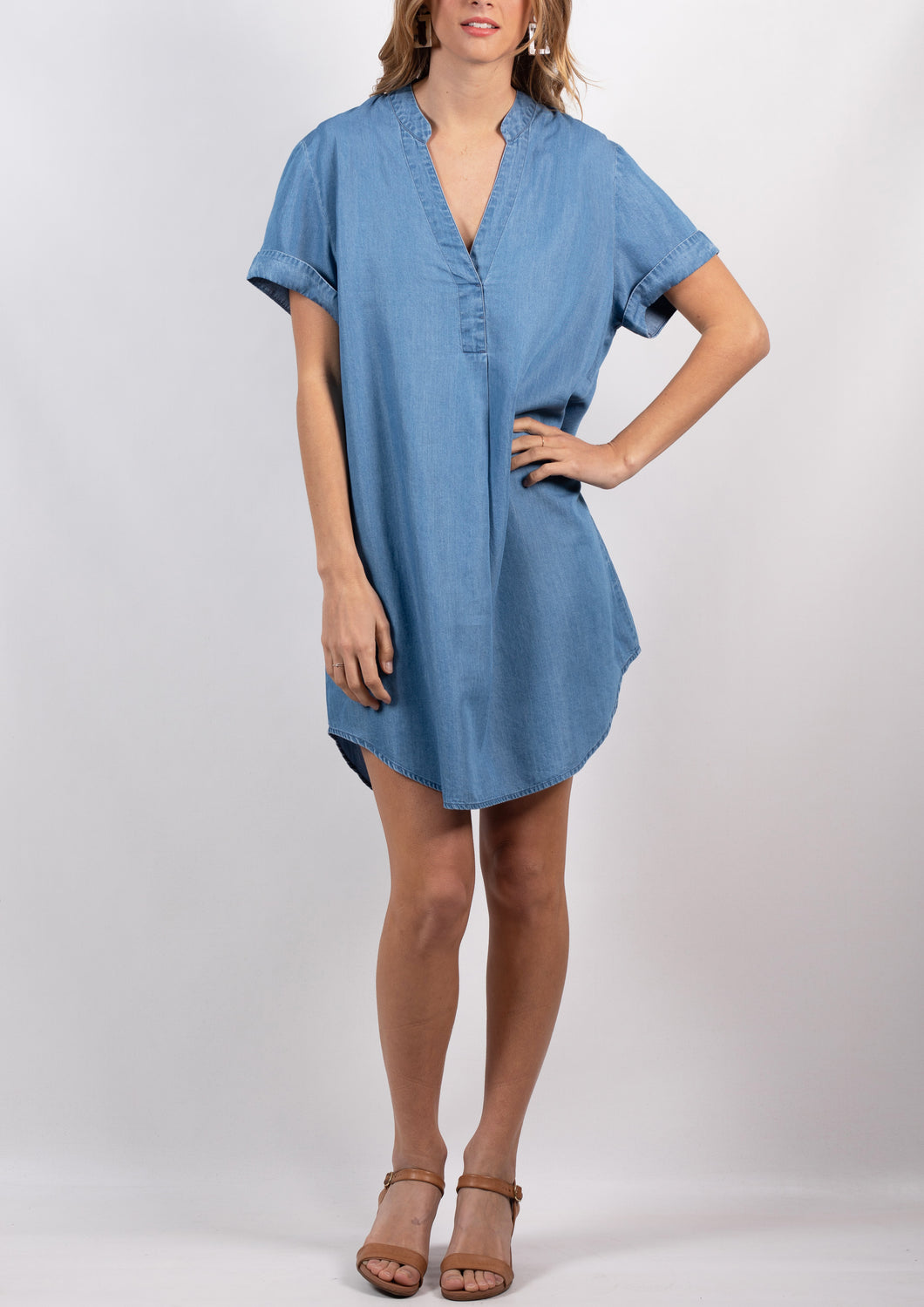 18G26SS V Neck Shirt Dress (Pack)