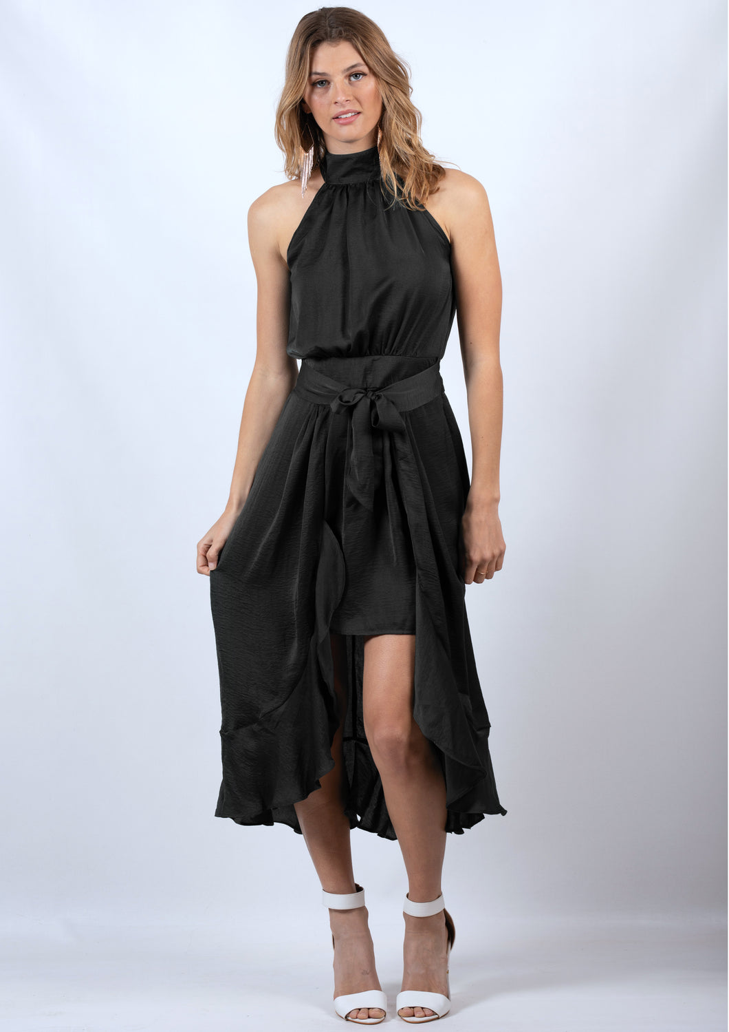 YW22012-1SS Halter Neck Flowy Dress  (Pack)