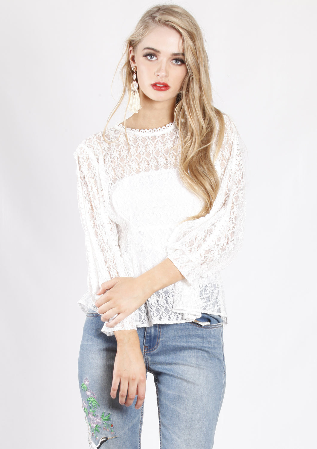 XW16219SS White Lace Peplum Top (Pack) On Sale