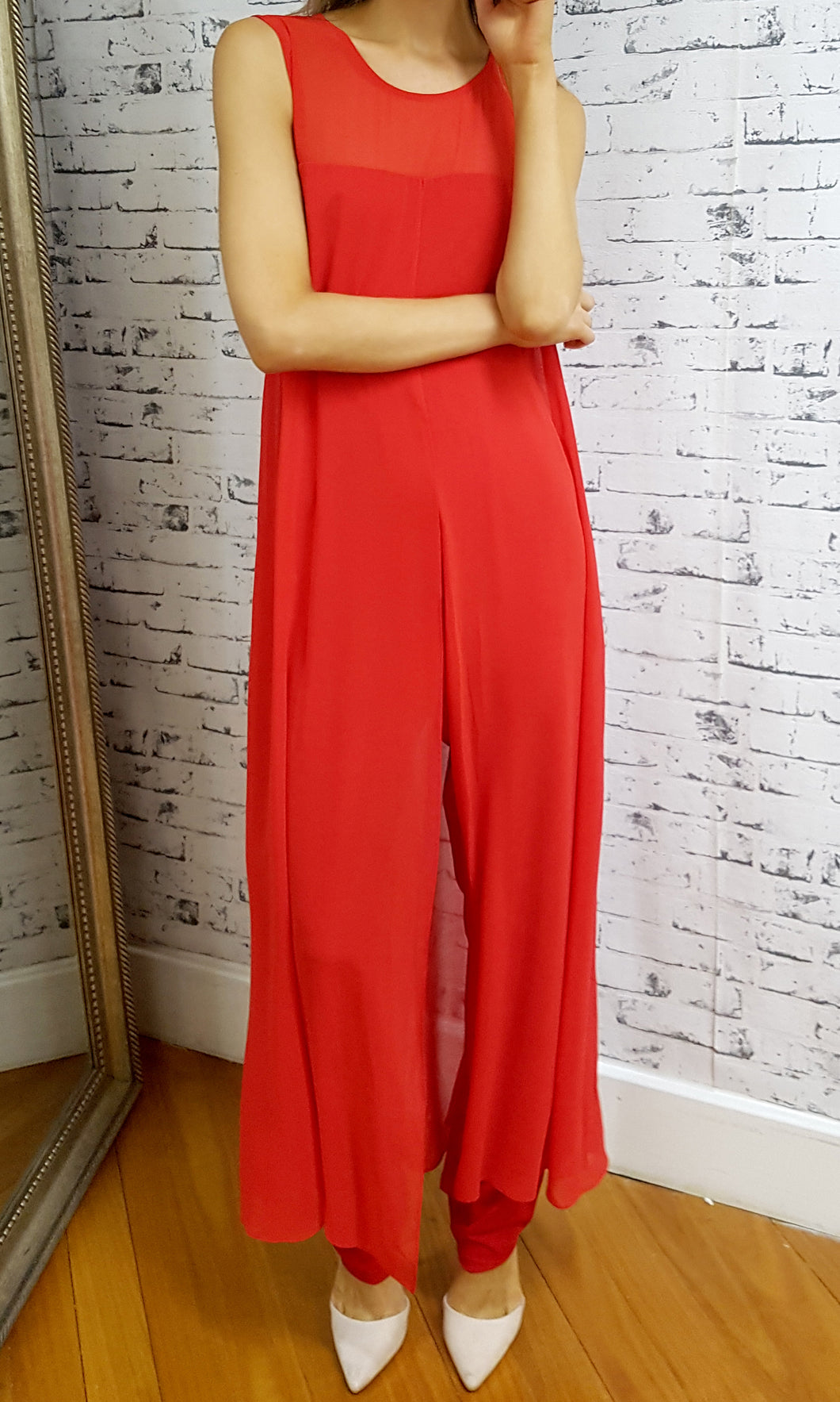BS816034TB RED CHIFFON OVERLAY JUMPSUIT (Pack)
