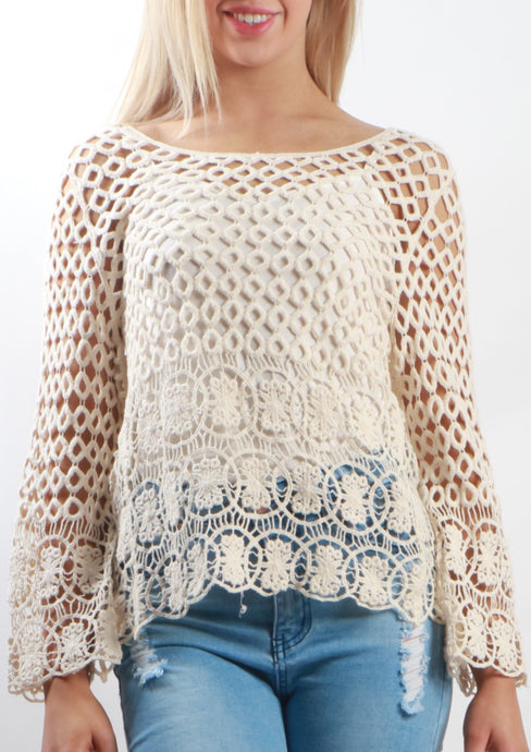 75SS Long Sleeve Crochet Top (Pack) New Arrival