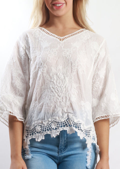 XX010SS V-Neck Lace Crochet Top (Pack) New Arrival