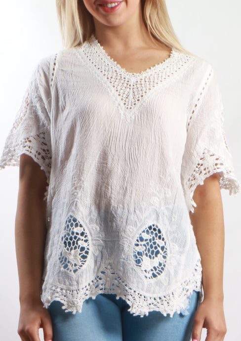 XX008SS V-Neck Lace Crochet Top (Pack) New Arrival
