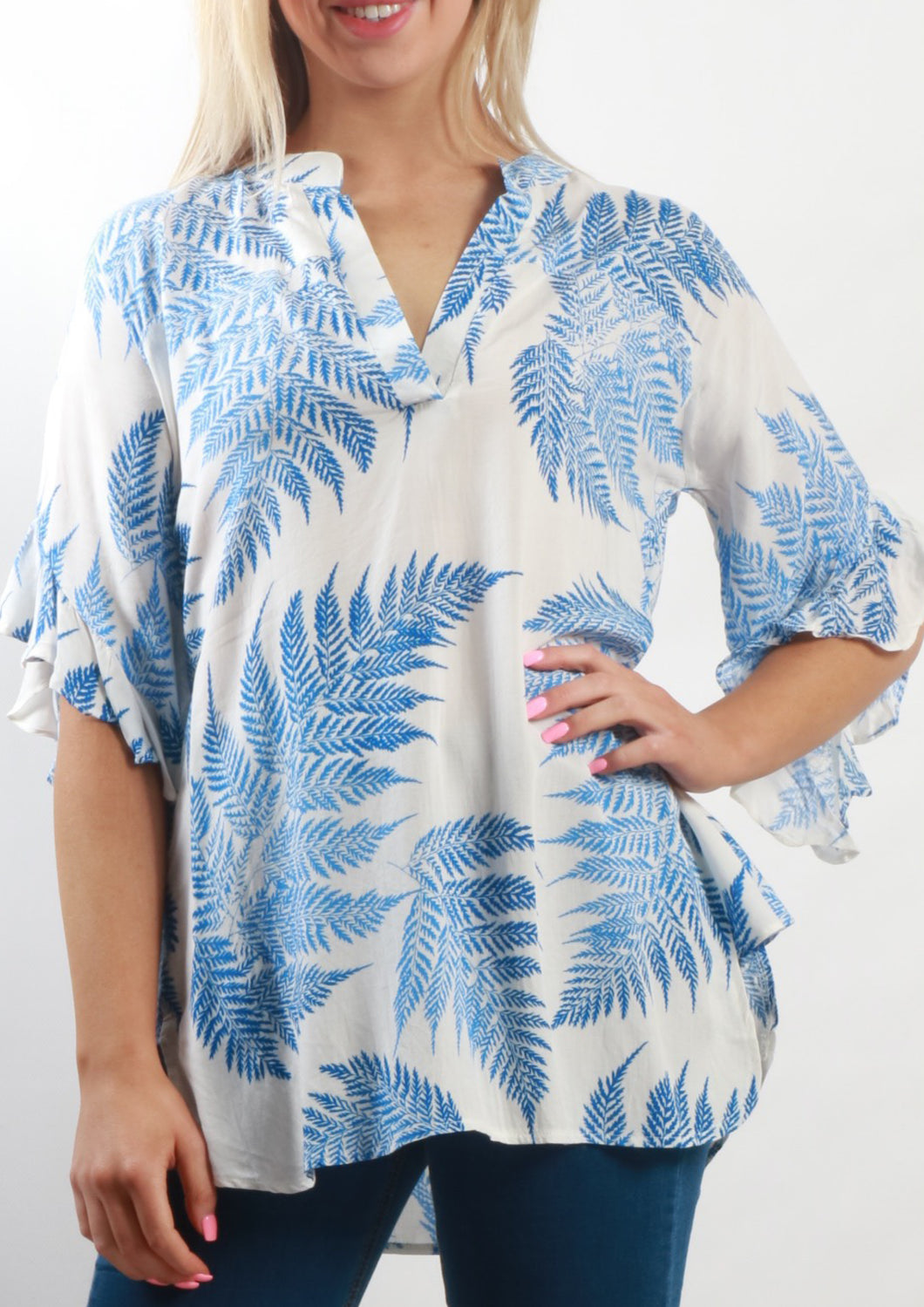 VY0372SS Printed Ruffle Sleeve Top (Pack)