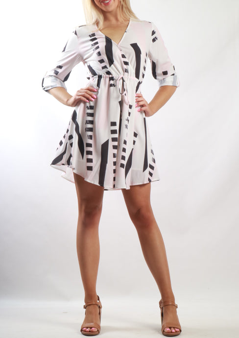 ZW16535SS Wrap Over Abstract Dress (Pack) New Arrival