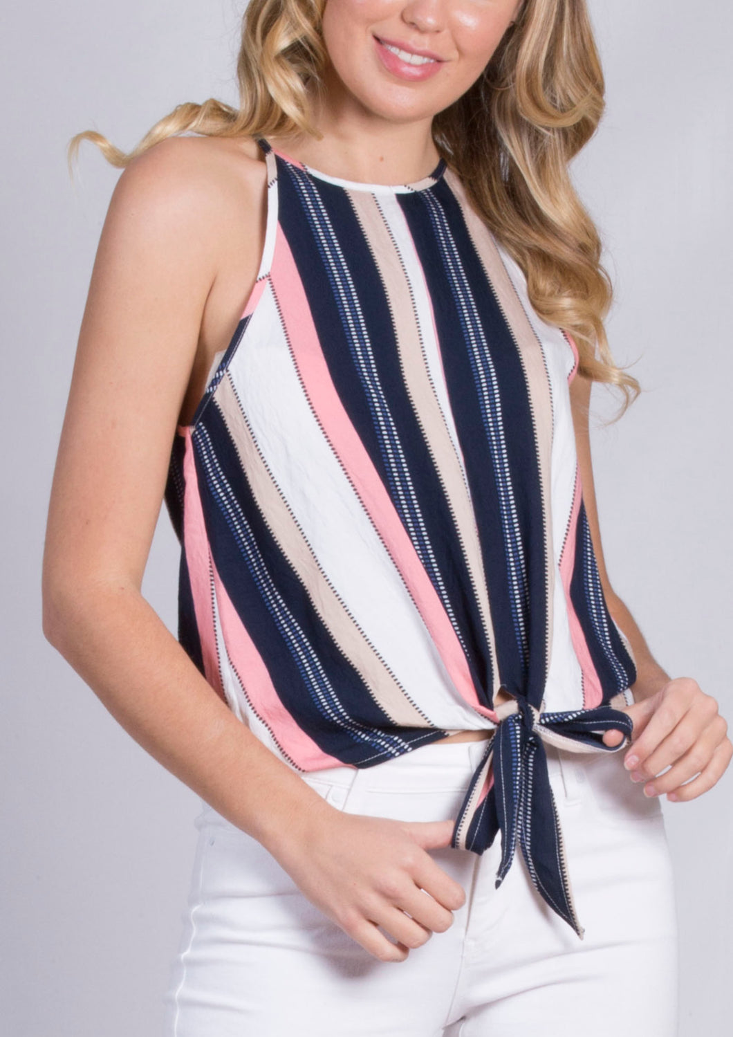 TG2548SS High Neck Tie Front Top (Pack)