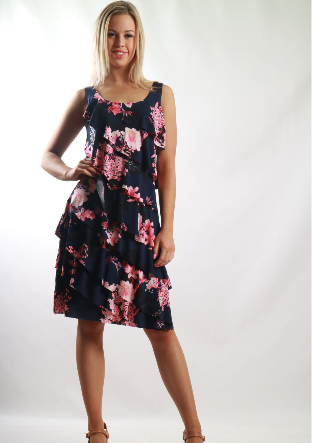 BS31616-205TB Pink Floral Ruffle Dress (Pack)