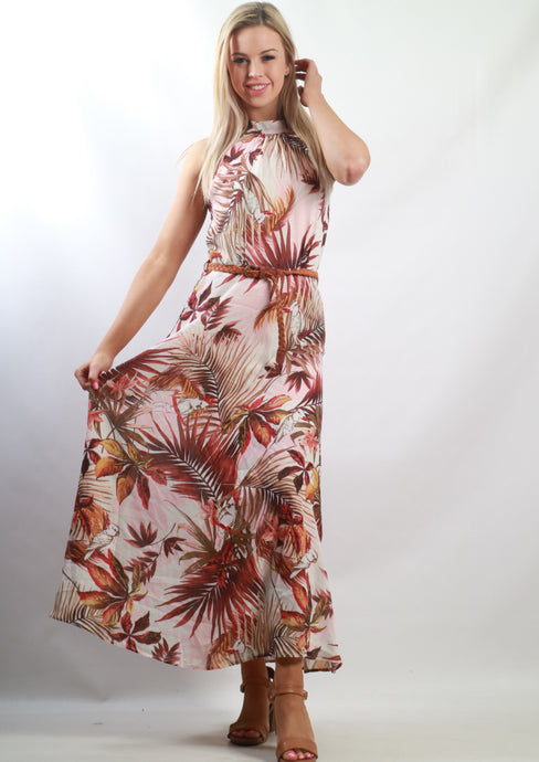 V010TB Halter Palm Print Maxi Dress (Pack) New Arrival