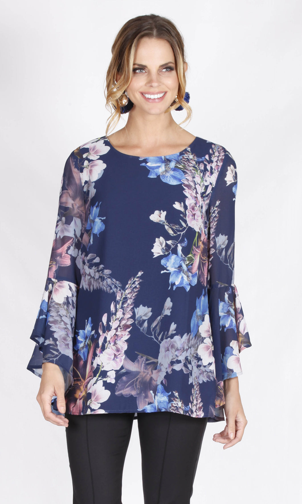 VS7360NC Floral Ruffle Sleeve Top (Pack)