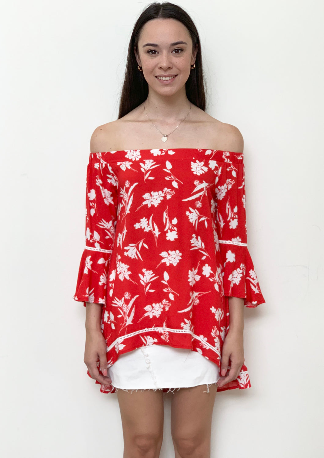 RV0261-2SS Off Shoulder White Floral Top (Pack) New Arrivals