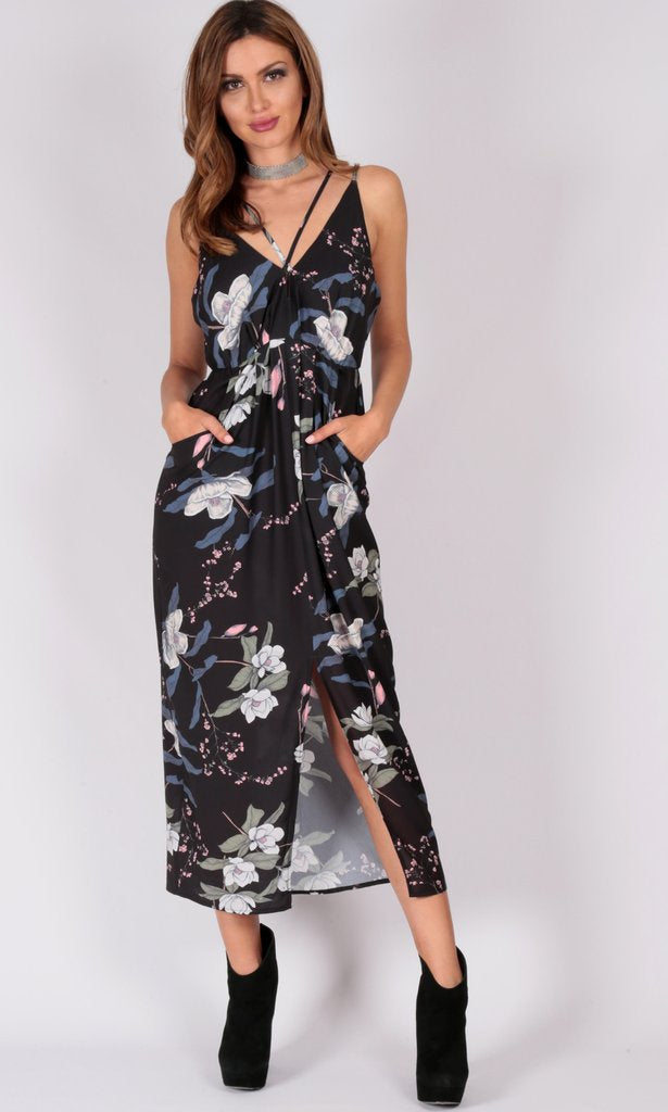 Floral Cross V Neck Strap Dress