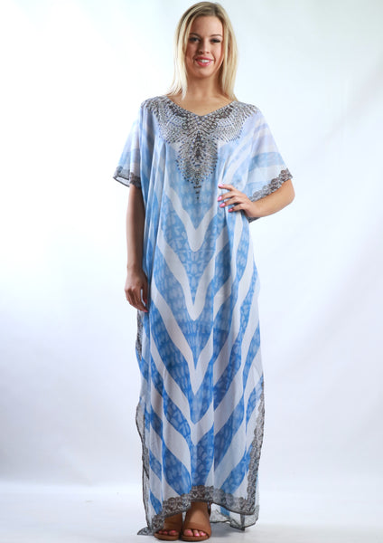 XW16207-2SS Blue Striped Maxi Kaftan (Pack) New Arrival