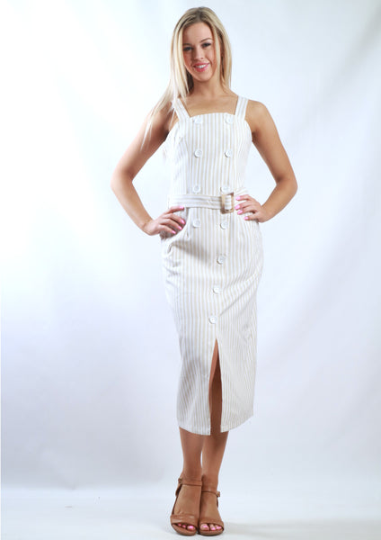 XW16284SS Pinstriped Midi Dress (Pack) New Arrival