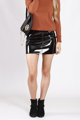 YW17123SS Black Faux Patent Leather Mini Skirt  (Pack)