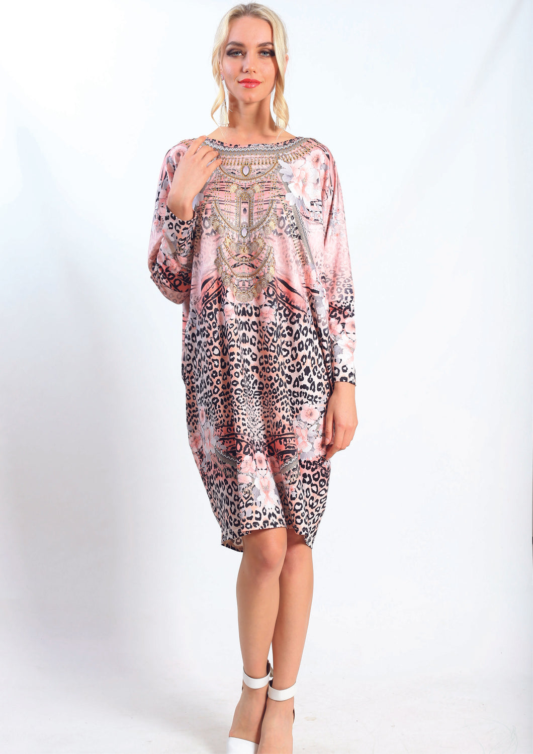 HS6002-21SS Pink Leopard Print Tunic Dress (Pack) New Arrivals