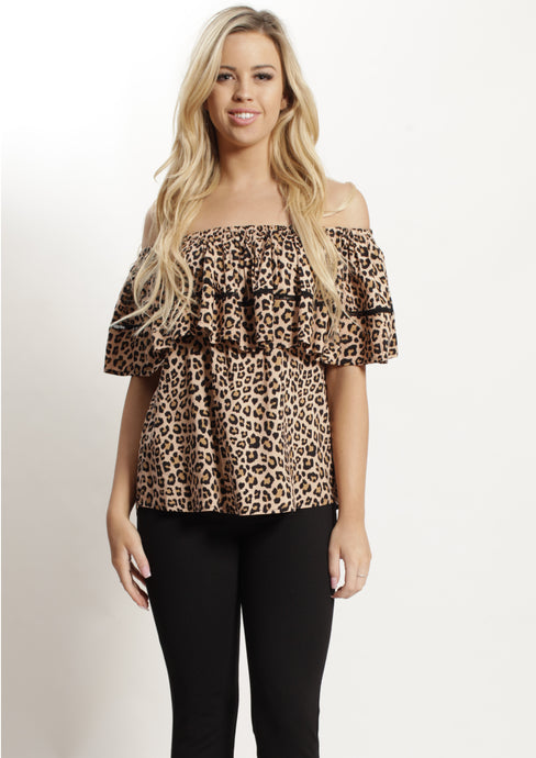 YW2390-1SS Leopard Off Shoulder Top (Pack) New Arrivals