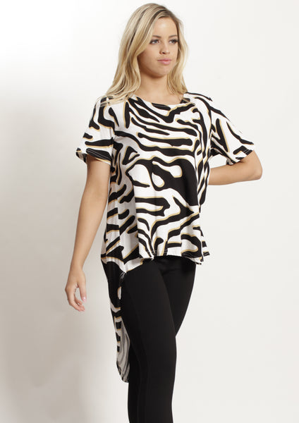 VY0427SS Zebra Print High Low Top (Pack) New Arrivals