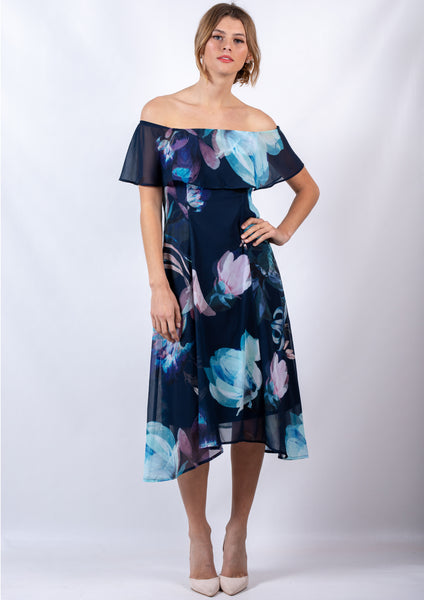 WA0229TB Off Shoulder Floral Dress (Pack) New Arrival