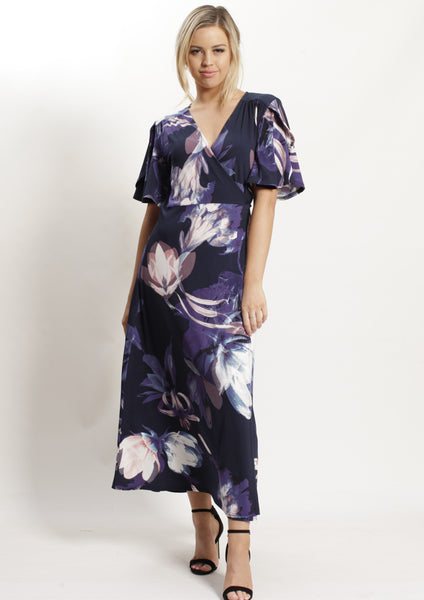 YW2248-2TB Printed Wrap Mid Length Dress (Pack) New Arrival