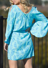 PW006-169SS Open Sleeve Aqua Print Dress (Pack) New Arrival