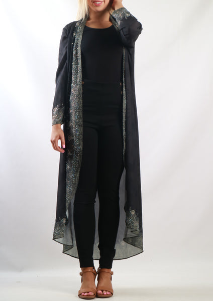Y00211SS Dark Embellished Kimono  (Pack) New Arrival