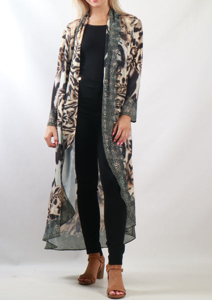 Y00211-2SS Leopard Embellished Kimono (Pack) New Arrival