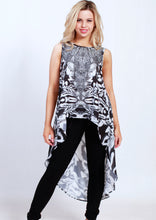 XW16122-13SS Monochrome Printed Embellished High Low Top (Pack)