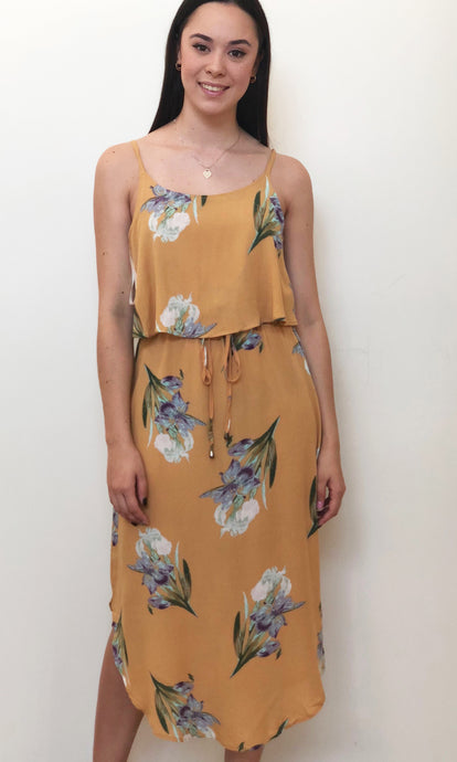 TG2518-1SS Mustard Floral Layered Dress (Pack)