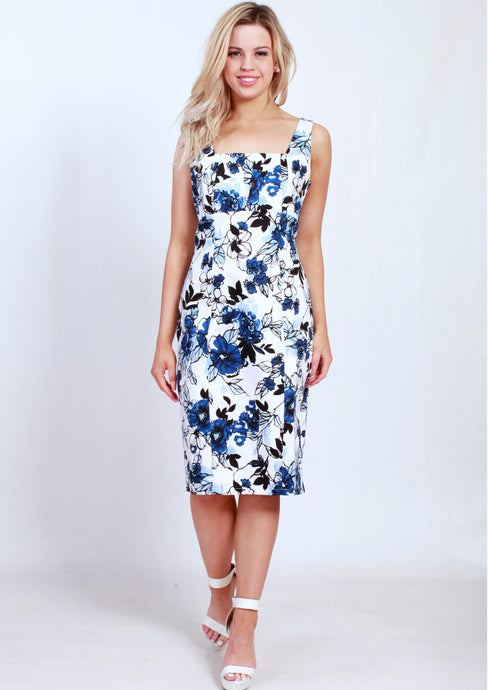 BS31590-237TB Navy/Blue Floral Pleated Front Dress (Pack) New Arrival
