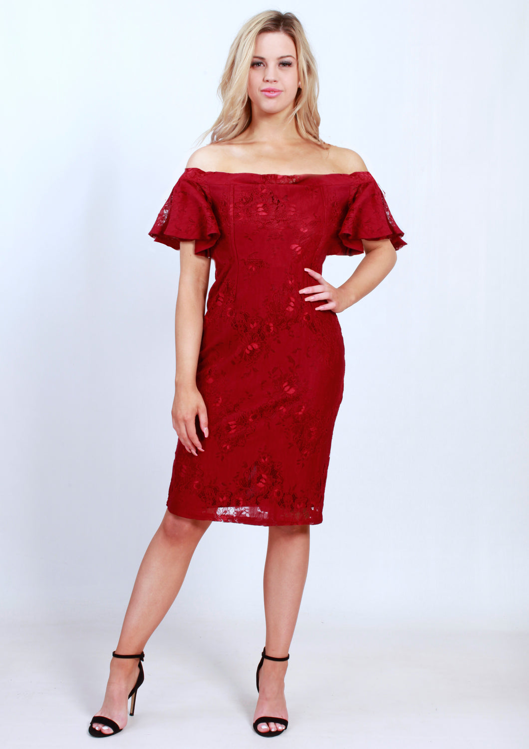 BS716012-6TB Lace Off Shoulder Midi Dress (Pack) New Arrival