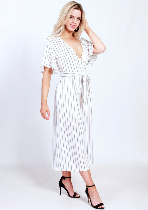 YW17148-1SS Striped Wrap Over Jumpsuit (Pack) New Arrival