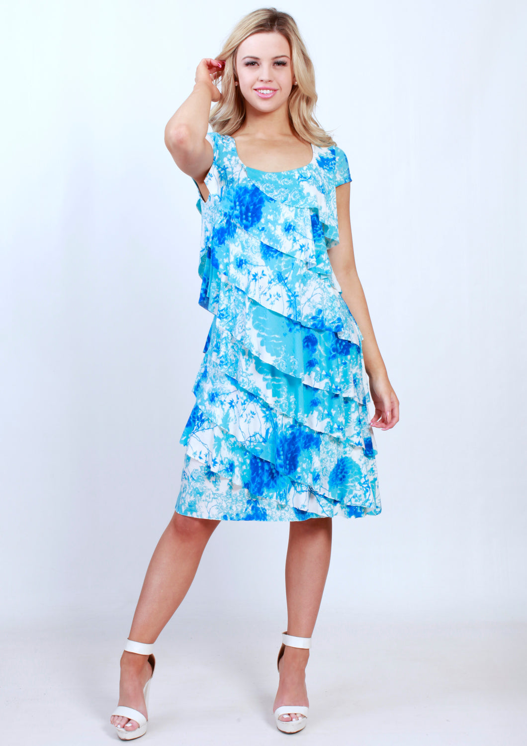 BS31616-211TB Blue/White Print Layered Asymmetric Dress (Pack)