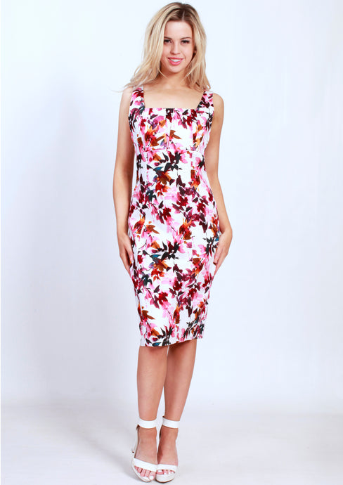 BS31590-239TB Red/Pink Floral Pleated Front Dress (Pack) New Arrival