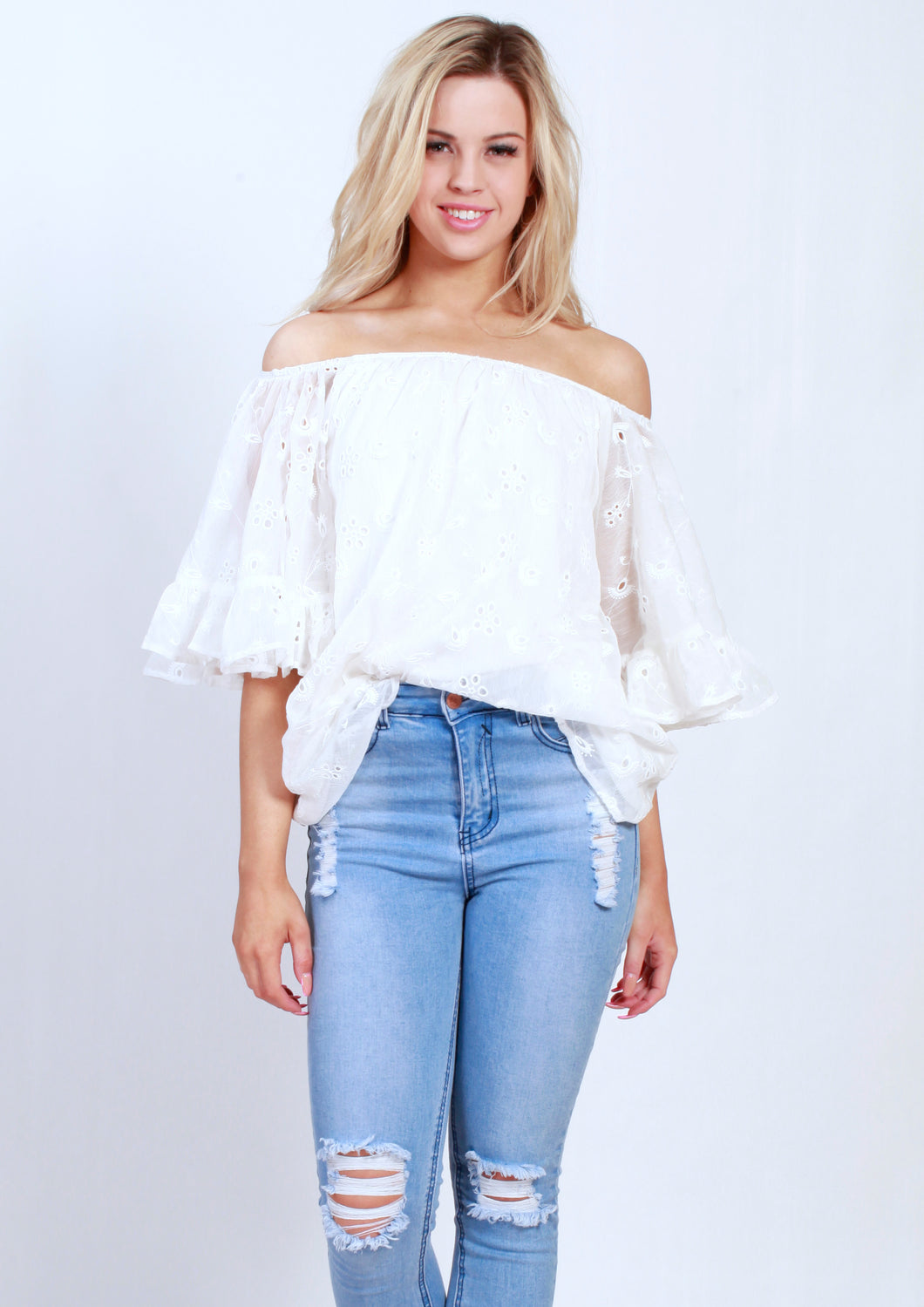 YW2275-2SS Off Shoulder Anglais Top (Pack)