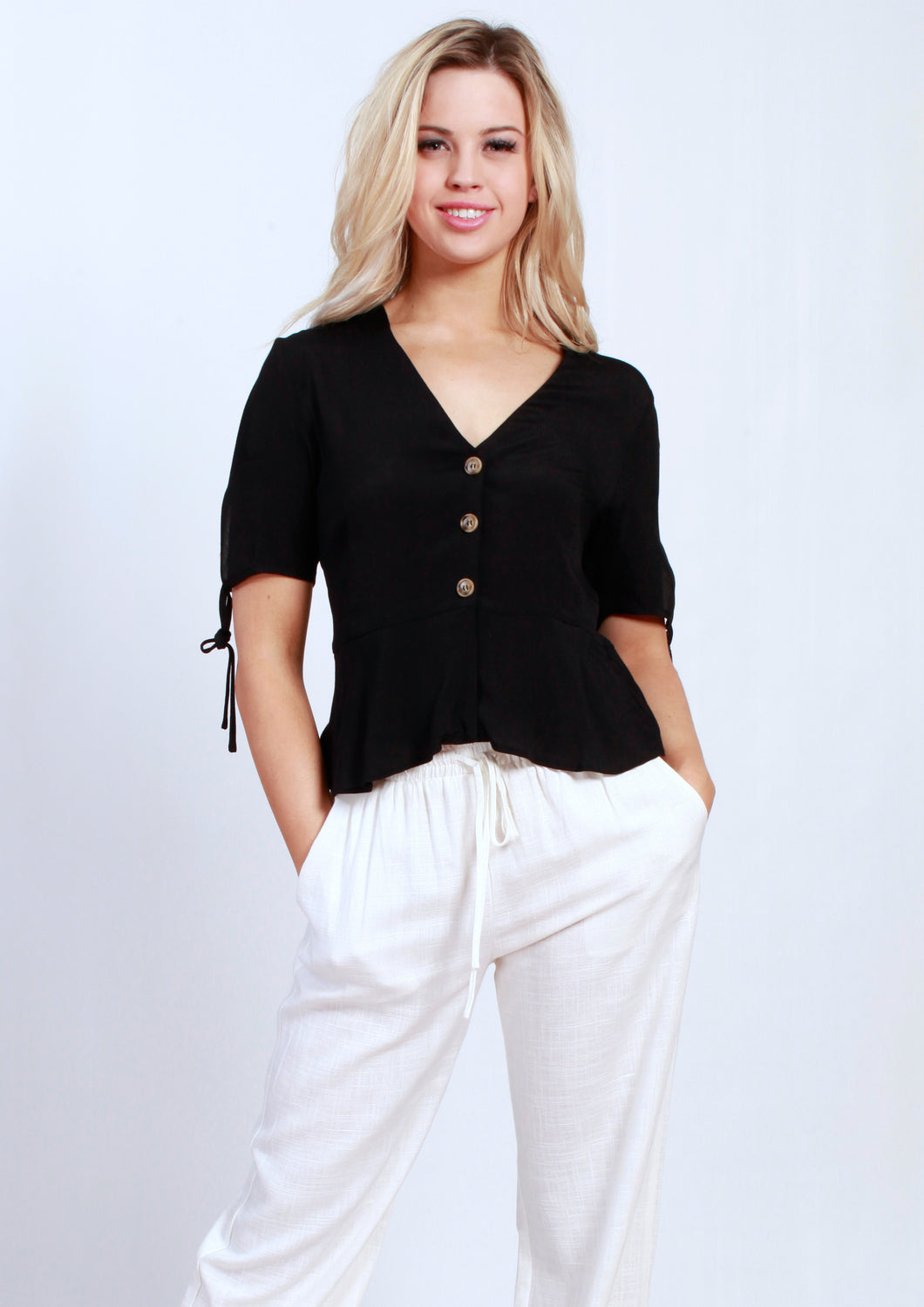 V418SS V Neck Button Down Blouse (Pack)