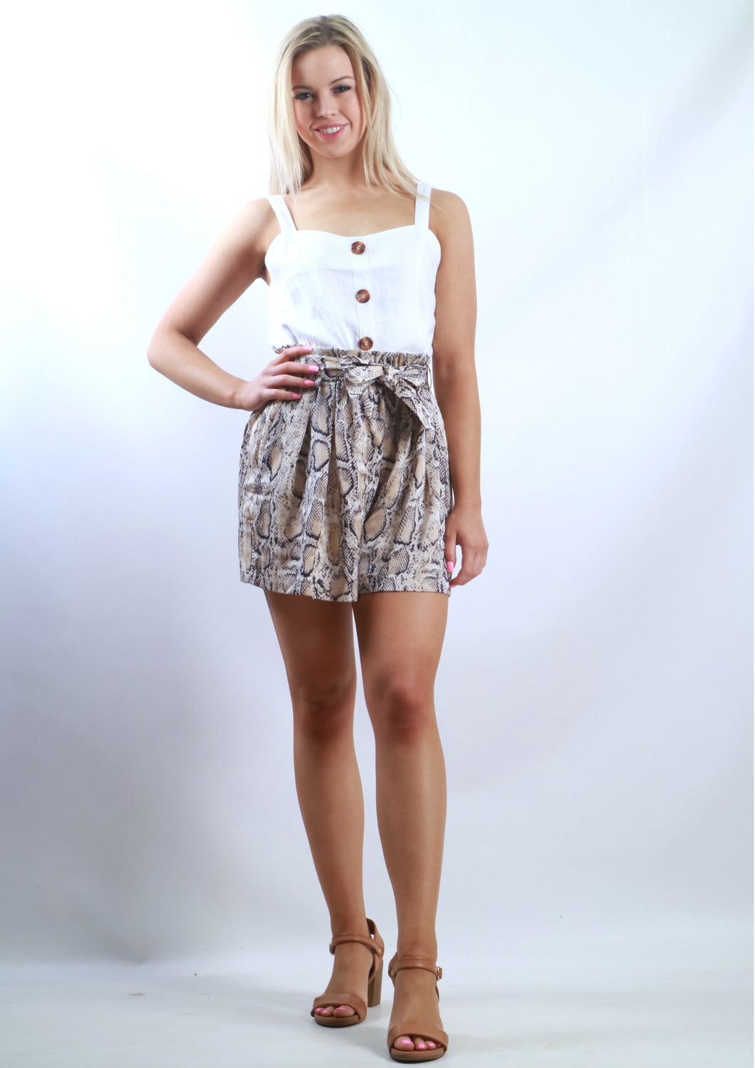 XW16271SS High Waisted Snake Print Short (Pack) New Arrival