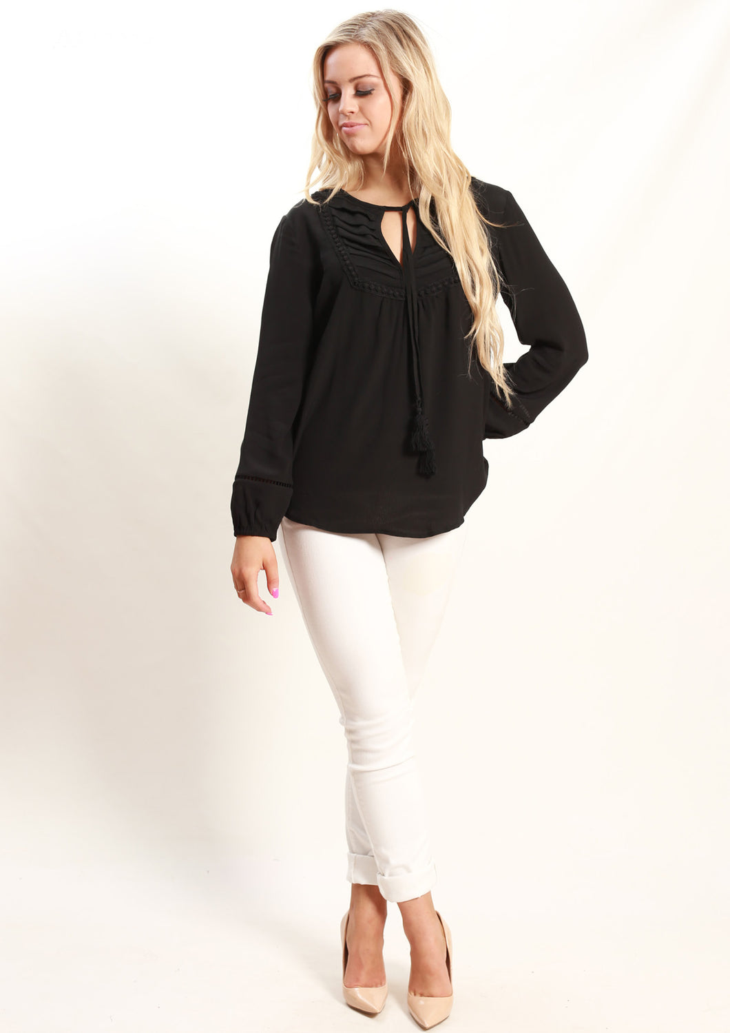 AY155SS Tie Neck Top (Pack) New Arrivals