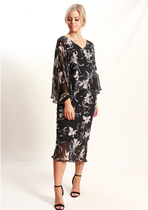 AY169NC Chiffon Overlay Floral Dress (Pack) New Arrival