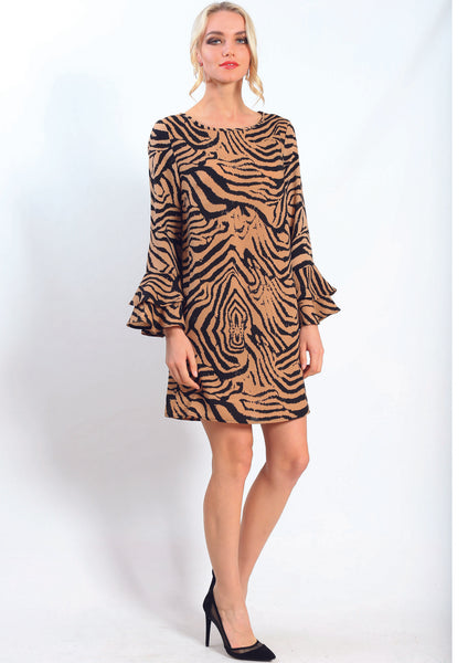 AY241NC Animal Print Dress With Ruffle Sleeve  (Pack)
