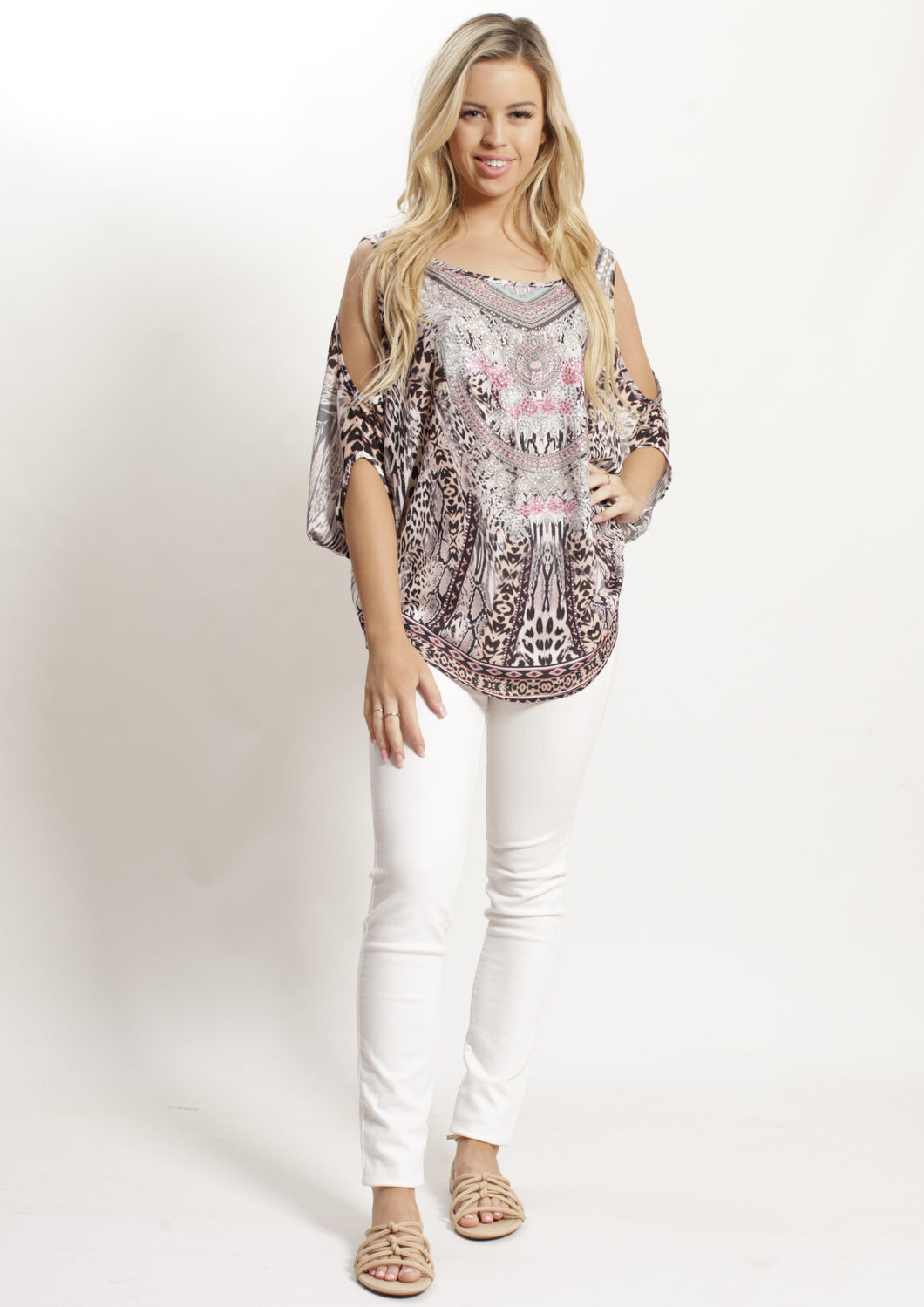 XW12317-83SS Pink Leopard Embellished Top (Pack) New Arrivals