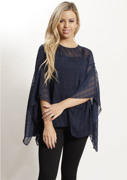 WA2162TB Navy Detailed Chiffon Top (Pack) New Arrival