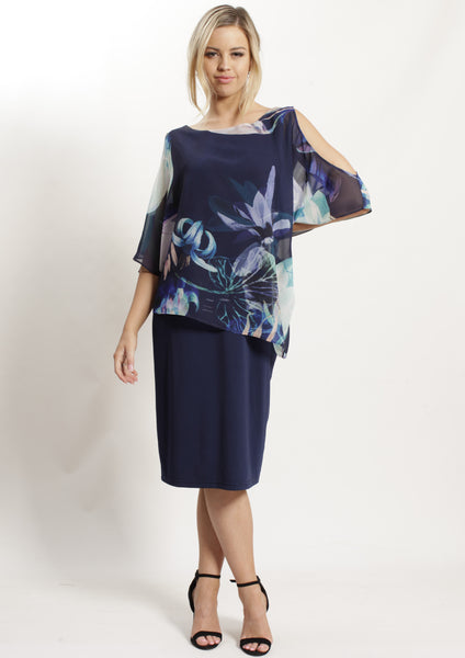 BS1016063-36NC Navy Floral Layer Dress (Pack) New Arrival