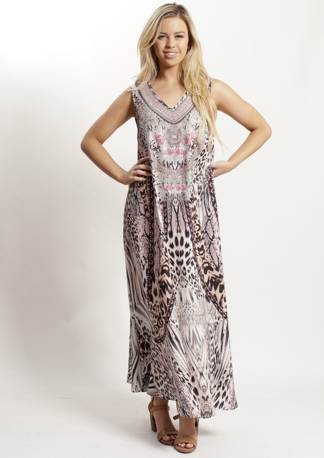 VY0260-1SS Pink Leopard Embellished Maxi Dress (Pack)