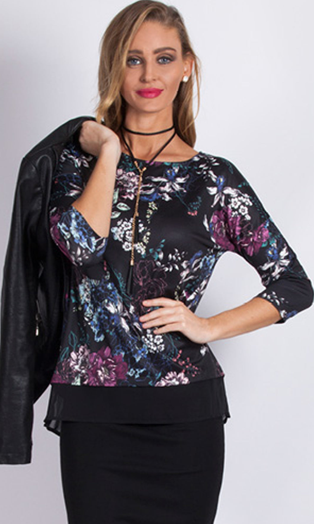 BS1016041-2NC Floral Print 3/4 Sleeve Top (Pack)