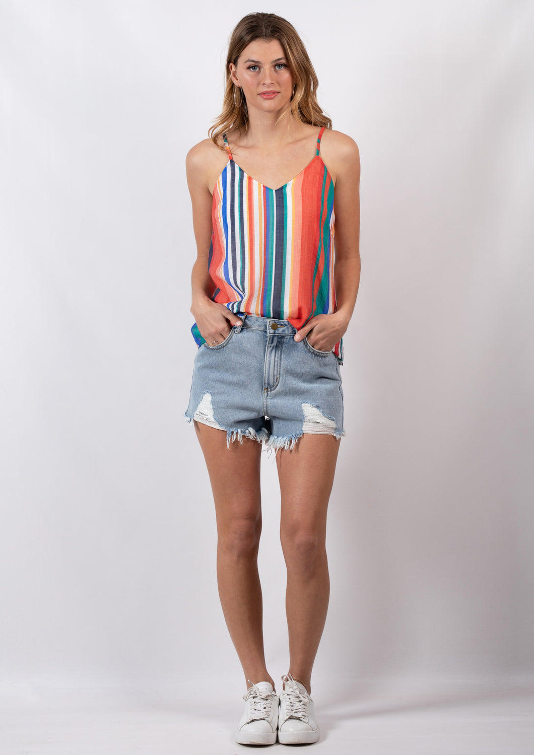 DS18D20409SS Multicoloured Stripe Cami (Pack)
